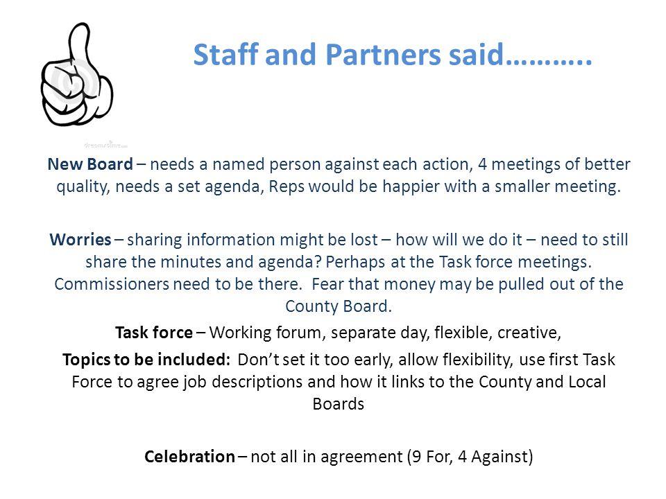Staff and Partners said………..