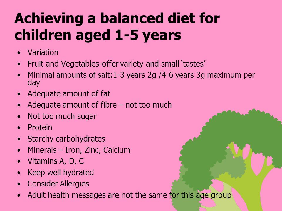 Achieving a balanced diet for children aged 1-5 years Variation Fruit and Vegetables-offer variety and small 'tastes' Minimal amounts of salt:1-3 years 2g /4-6 years 3g maximum per day Adequate amount of fat Adequate amount of fibre – not too much Not too much sugar Protein Starchy carbohydrates Minerals – Iron, Zinc, Calcium Vitamins A, D, C Keep well hydrated Consider Allergies Adult health messages are not the same for this age group