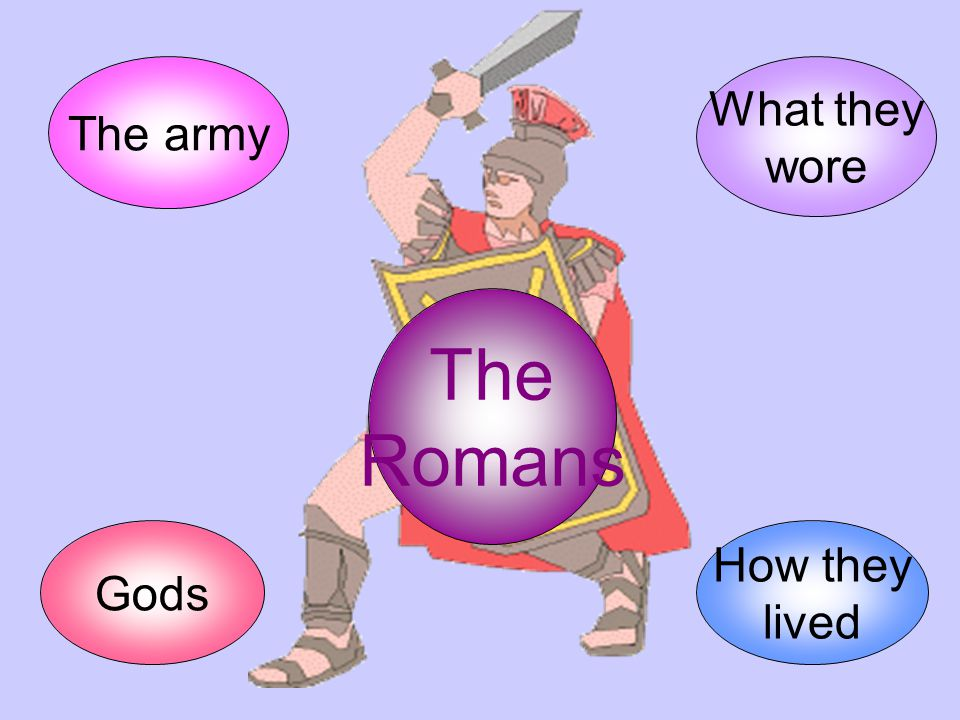 The Romans The army How they lived Gods What they wore