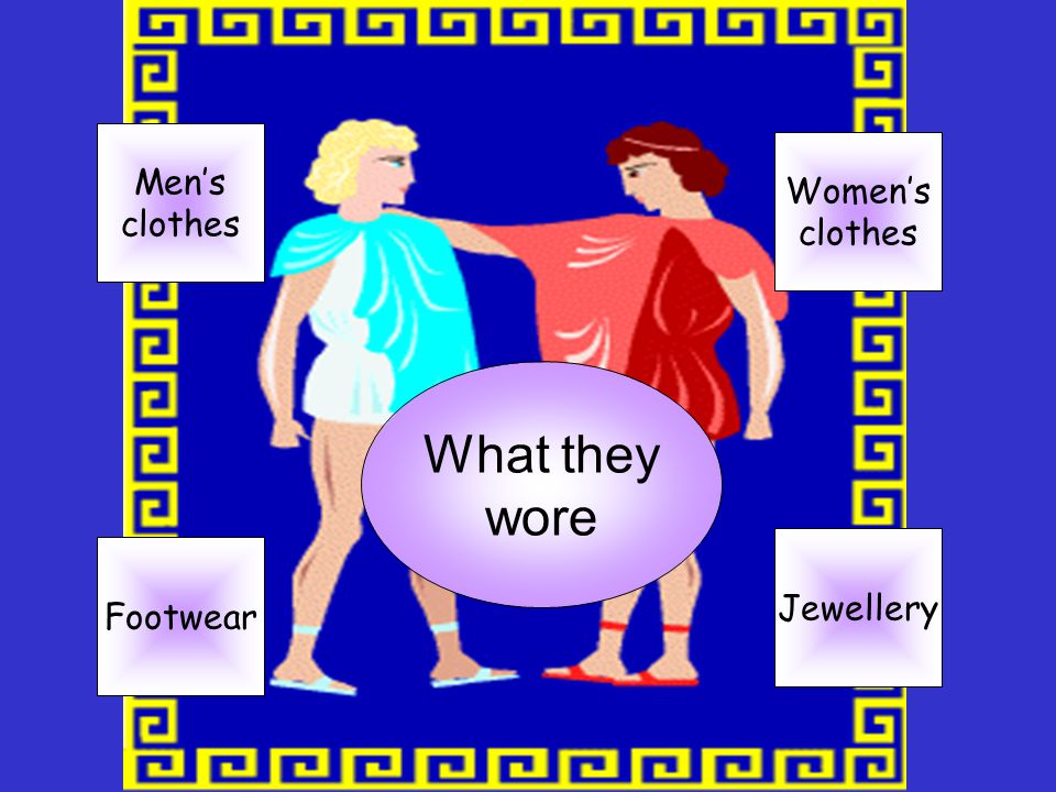 Men's clothes What they wore Jewellery Footwear Women's clothes