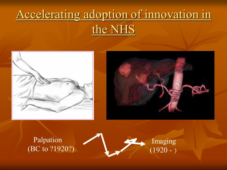 Accelerating adoption of innovation in the NHS Palpation (BC to ?1920?) Imaging (1920 - )