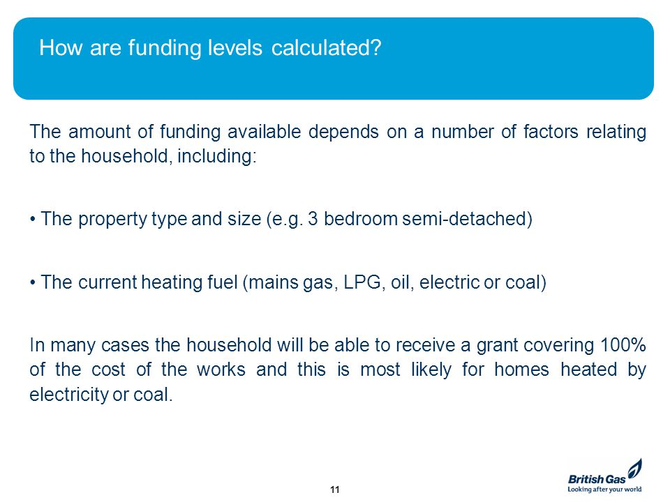 How are funding levels calculated? The amount of funding available depends on a number of factors relating to the household, including: The property t