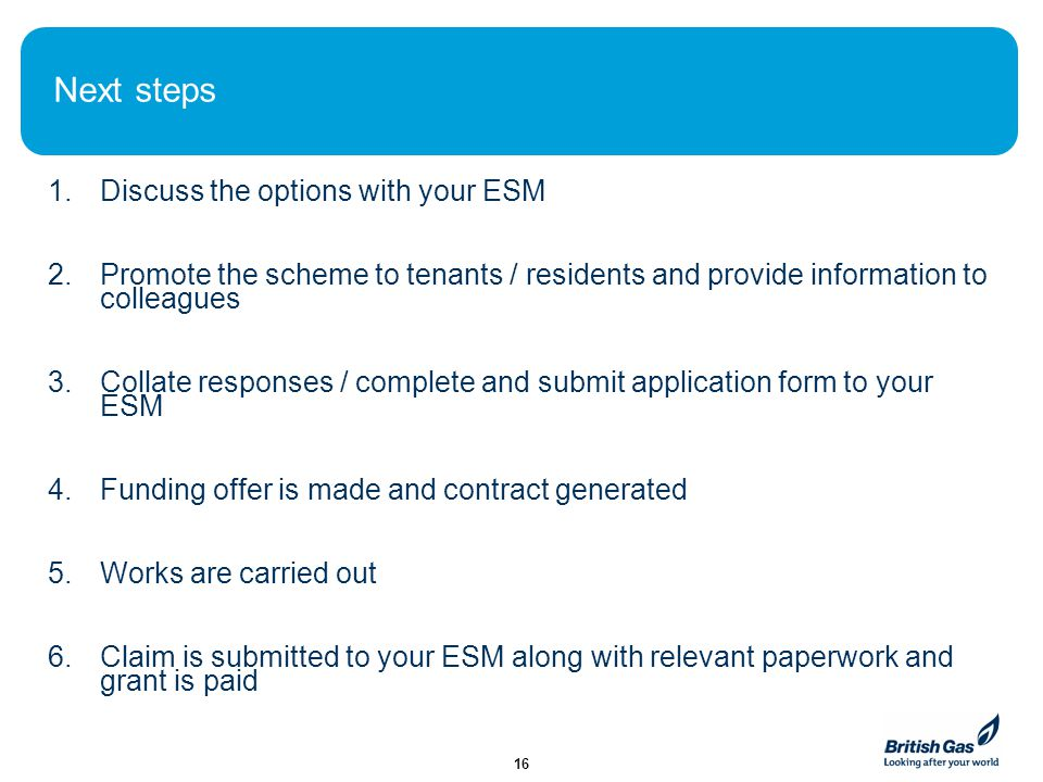 Next steps 1.Discuss the options with your ESM 2.Promote the scheme to tenants / residents and provide information to colleagues 3.Collate responses /