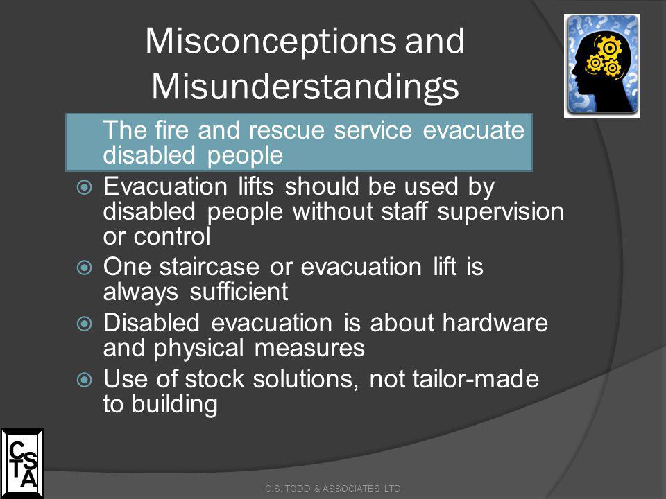 Misconceptions and Misunderstandings  The fire and rescue service evacuate disabled people  Evacuation lifts should be used by disabled people witho