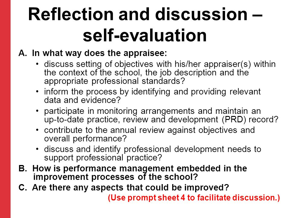 Reflection and discussion – self-evaluation A.