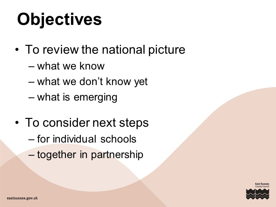 Objectives To review the national picture –what we know –what we don't know yet –what is emerging To consider next steps –for individual schools –toge