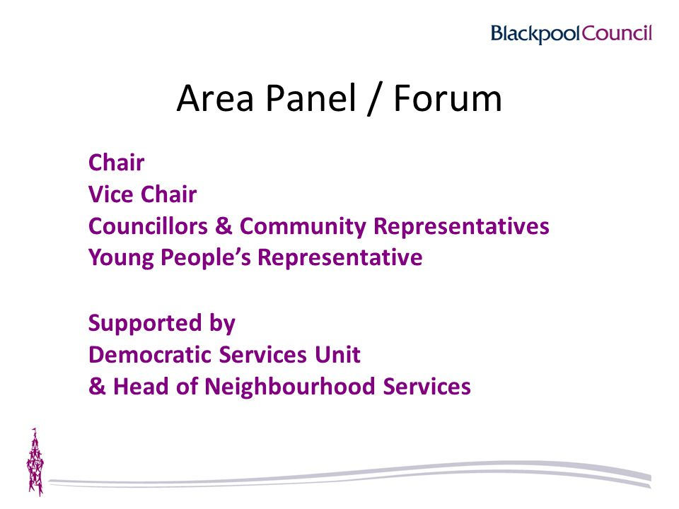 Area Panel / Forum Chair Vice Chair Councillors & Community Representatives Young People's Representative Supported by Democratic Services Unit & Head
