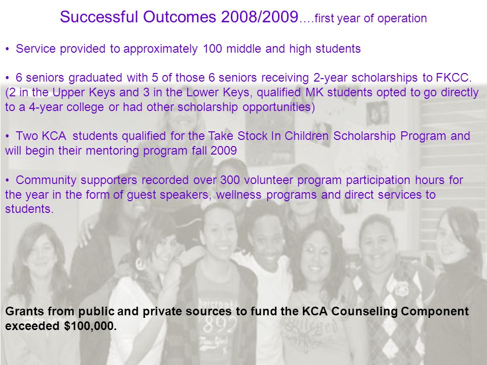 Successful Outcomes 2008/2009 ….first year of operation Service provided to approximately 100 middle and high students 6 seniors graduated with 5 of those 6 seniors receiving 2-year scholarships to FKCC.