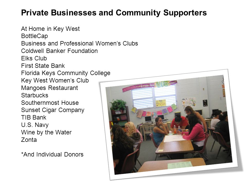 Private Businesses and Community Supporters At Home in Key West BottleCap Business and Professional Women's Clubs Coldwell Banker Foundation Elks Club First State Bank Florida Keys Community College Key West Women's Club Mangoes Restaurant Starbucks Southernmost House Sunset Cigar Company TIB Bank U.S.