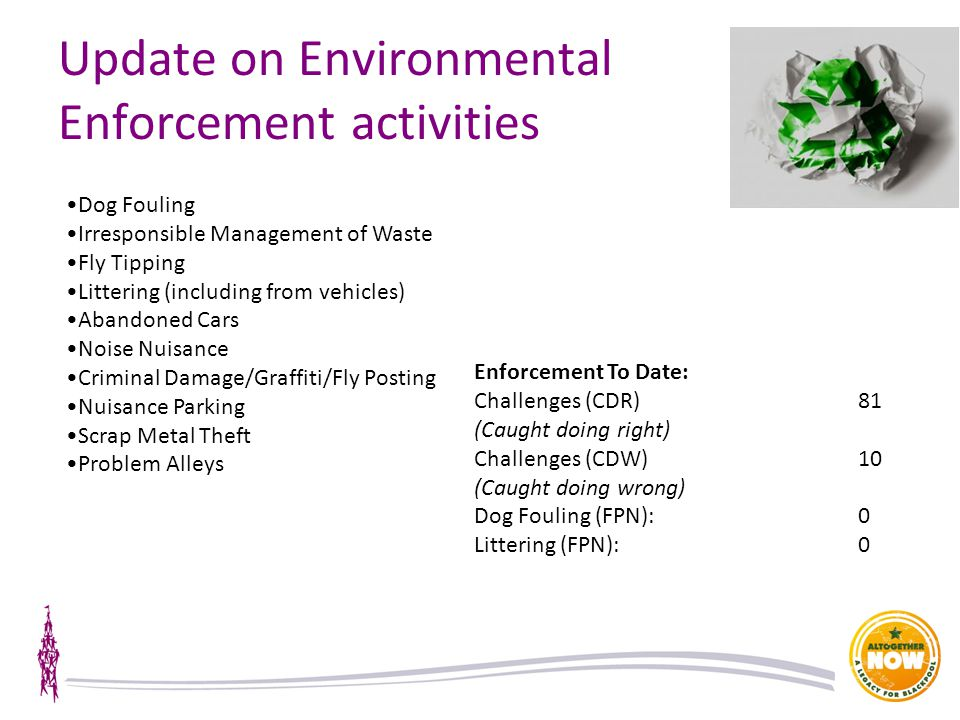 Update on Environmental Enforcement activities Dog Fouling Irresponsible Management of Waste Fly Tipping Littering (including from vehicles) Abandoned Cars Noise Nuisance Criminal Damage/Graffiti/Fly Posting Nuisance Parking Scrap Metal Theft Problem Alleys Enforcement To Date: Challenges (CDR)81 (Caught doing right) Challenges (CDW)10 (Caught doing wrong) Dog Fouling (FPN):0 Littering (FPN):0