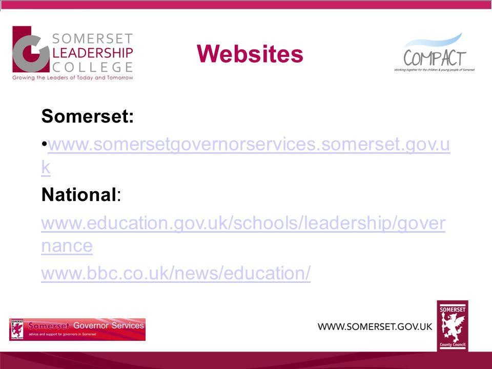 Websites Somerset: www.somersetgovernorservices.somerset.gov.u kwww.somersetgovernorservices.somerset.gov.u k National: www.education.gov.uk/schools/l