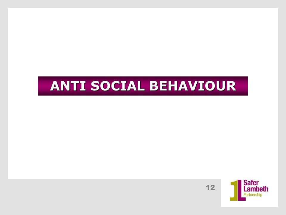 12 ANTI SOCIAL BEHAVIOUR