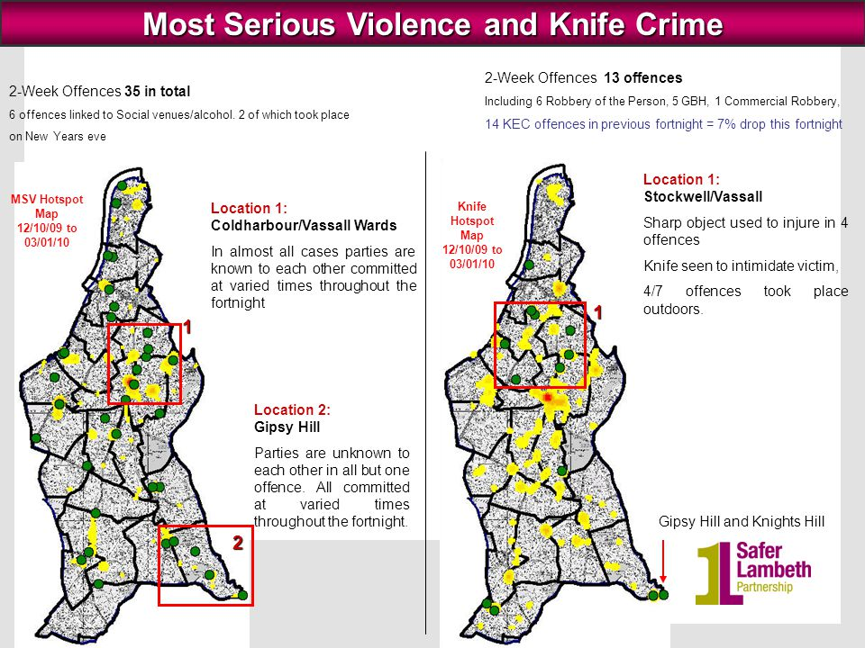 8 MOTOR VEHICLE CRIME 83 Motor Vehicle offences between 21/12/09 to 03/01/10: Theft from MV (55), Theft of MV (28).