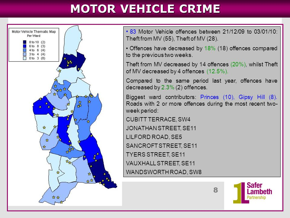 9 MOTOR VEHICLE CRIME Main Area – Princes Ward in SE11 Roads around Jonathan Street, Vauxhall Street, Tyers Street – 9 offences in the highlighted area, Theft from MV (8).