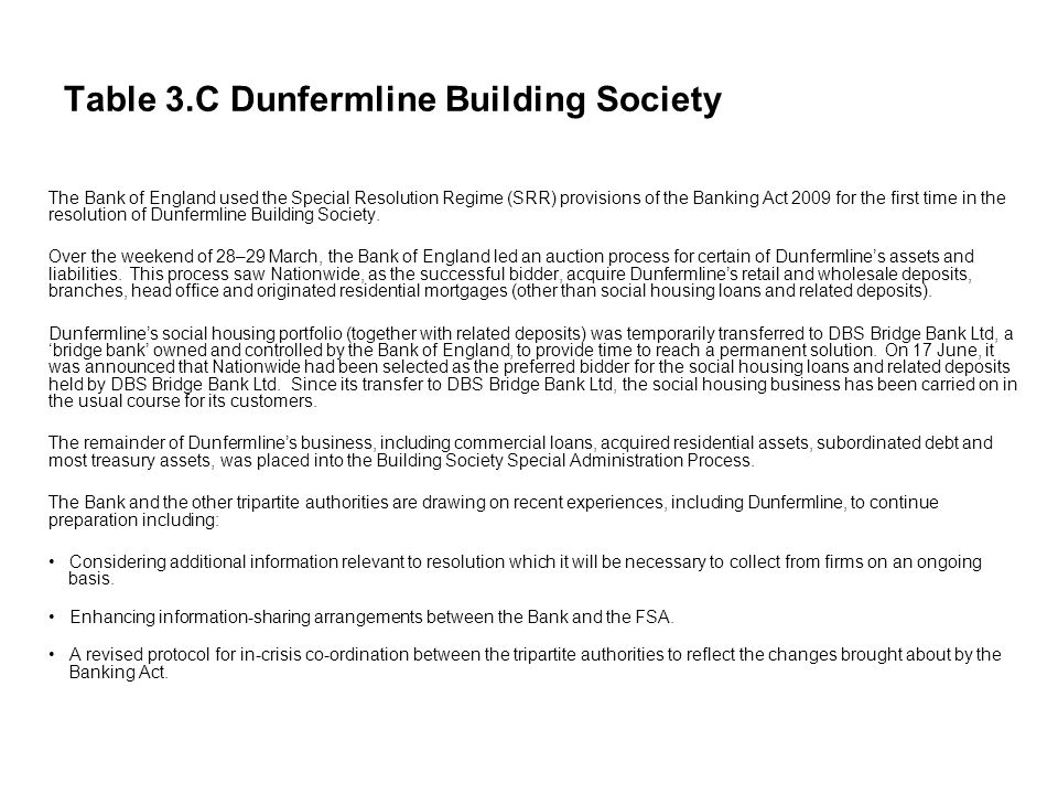 Table 3.C Dunfermline Building Society The Bank of England used the Special Resolution Regime (SRR) provisions of the Banking Act 2009 for the first time in the resolution of Dunfermline Building Society.