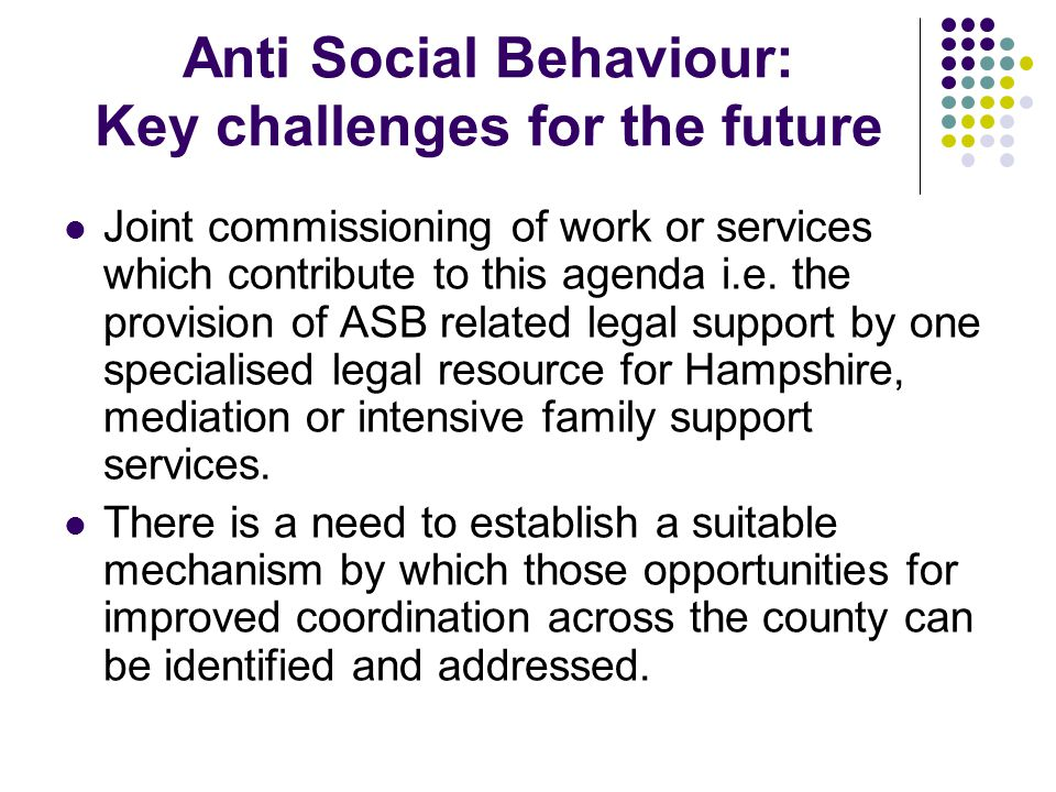 Anti Social Behaviour: Key challenges for the future Joint commissioning of work or services which contribute to this agenda i.e.