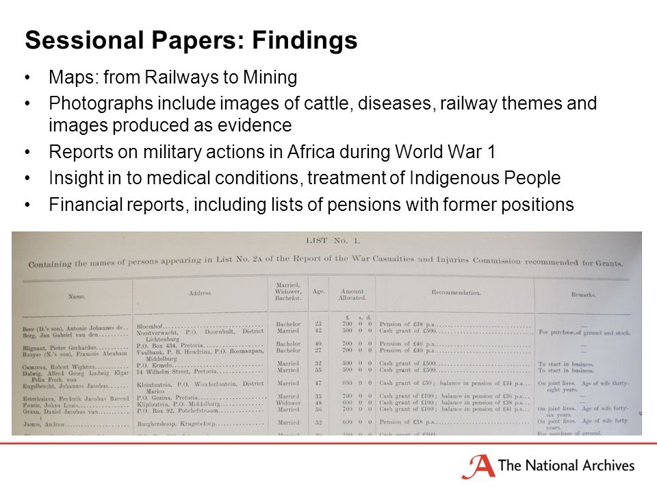 Sessional Papers: Findings Maps: from Railways to Mining Photographs include images of cattle, diseases, railway themes and images produced as evidence Reports on military actions in Africa during World War 1 Insight in to medical conditions, treatment of Indigenous People Financial reports, including lists of pensions with former positions