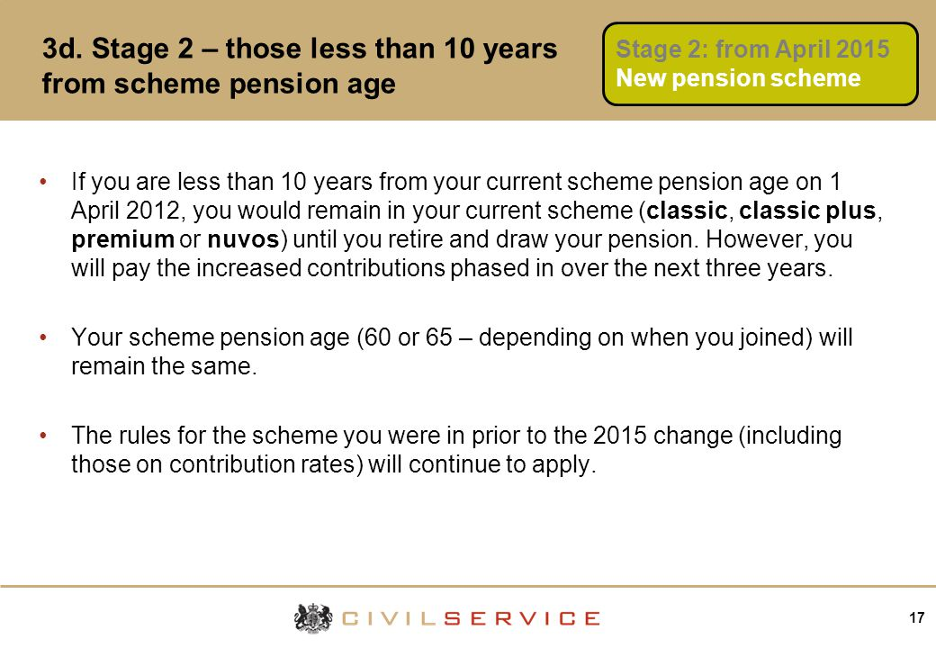 17 3d. Stage 2 – those less than 10 years from scheme pension age If you are less than 10 years from your current scheme pension age on 1 April 2012,