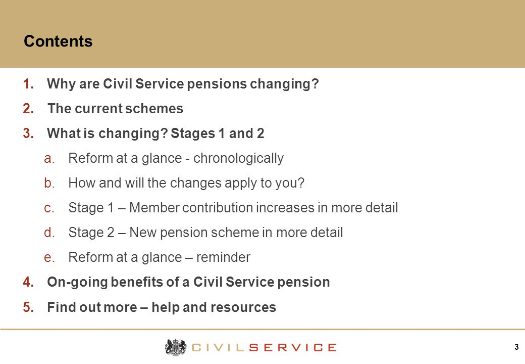 3 Contents 1.Why are Civil Service pensions changing.