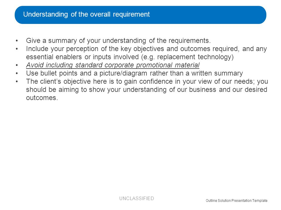 Give a summary of your understanding of the requirements.