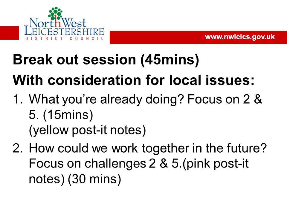 Break out session (45mins) With consideration for local issues: 1.What you're already doing.