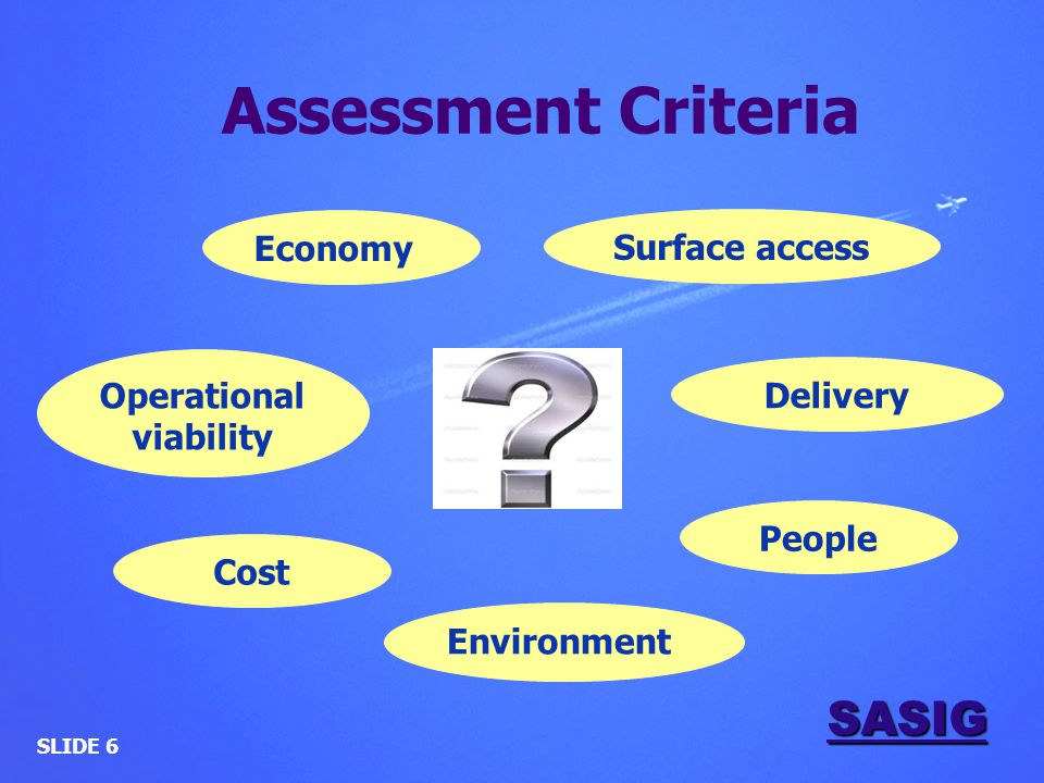 SASIG SLIDE 6 Economy Environment Delivery Surface access Cost People Operational viability Assessment Criteria