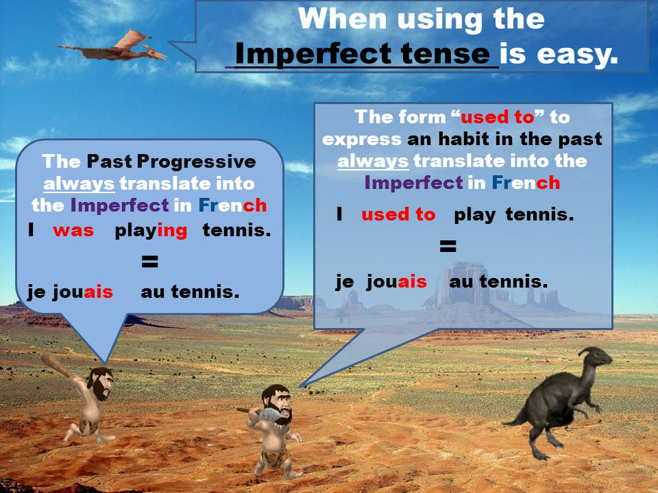When using the Perfect tense is easy. For instance... Ihaveplayedtennis J'aijouéau tennis