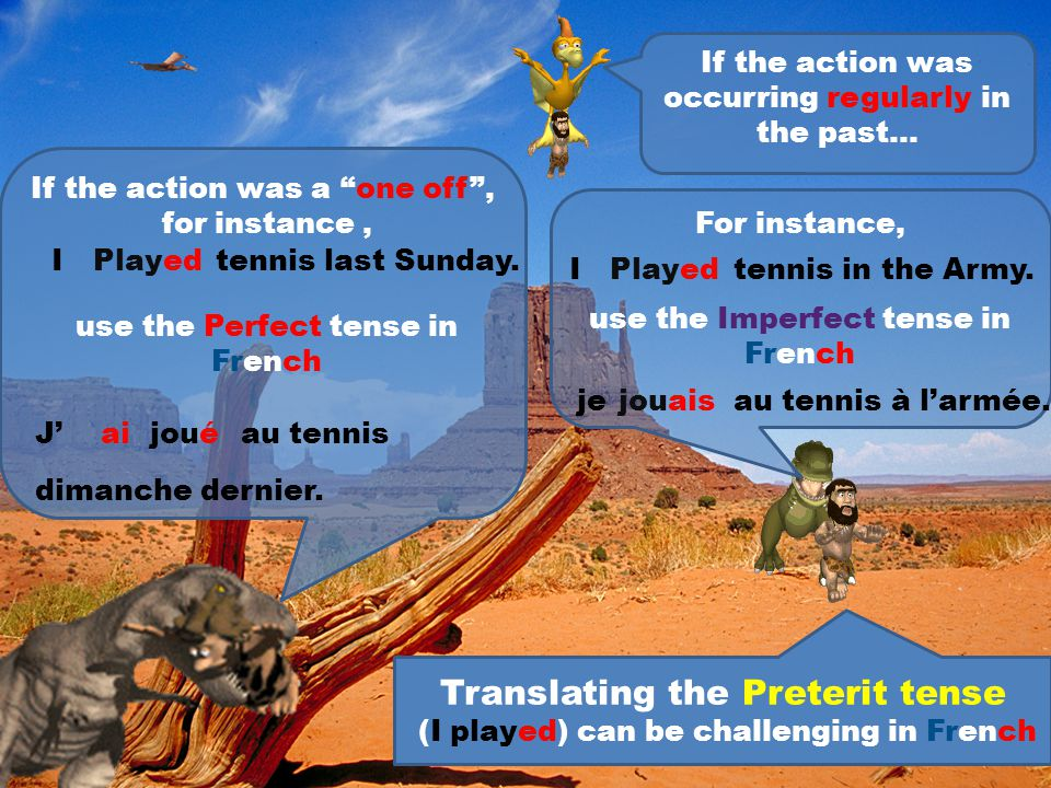 When using the Imperfect tense is easy. The Past Progressive always translate into the Imperfect in French Iwasplayingtennis. jejouaisau tennis. = The