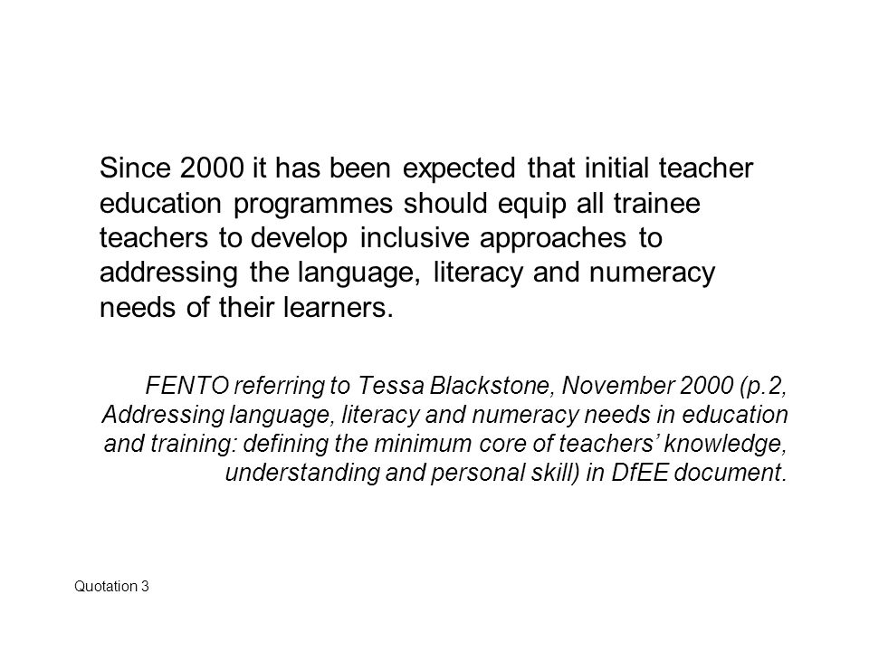 Since 2000 it has been expected that initial teacher education programmes should equip all trainee teachers to develop inclusive approaches to address