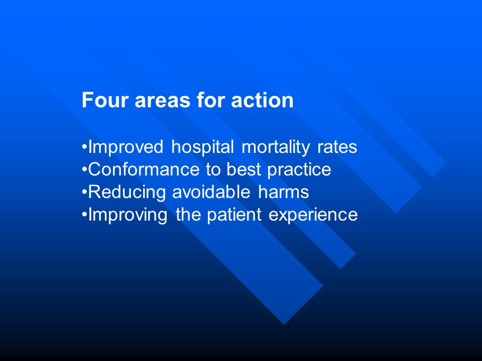 Four areas for action Improved hospital mortality rates Conformance to best practice Reducing avoidable harms Improving the patient experience