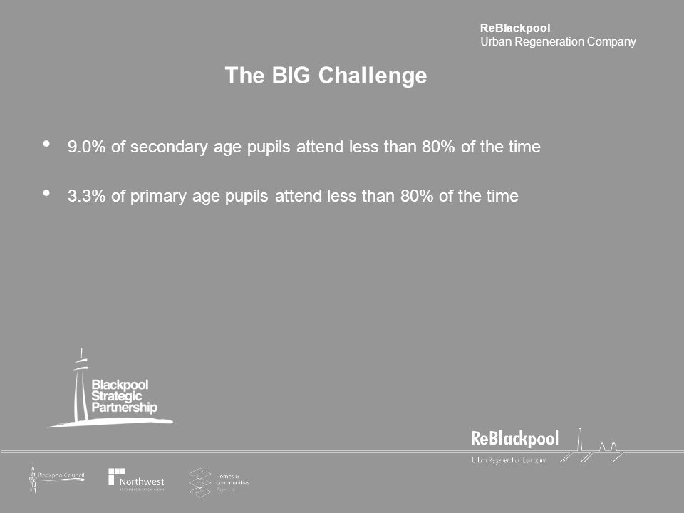 ReBlackpool Urban Regeneration Company The BIG Challenge 9.0% of secondary age pupils attend less than 80% of the time 3.3% of primary age pupils attend less than 80% of the time