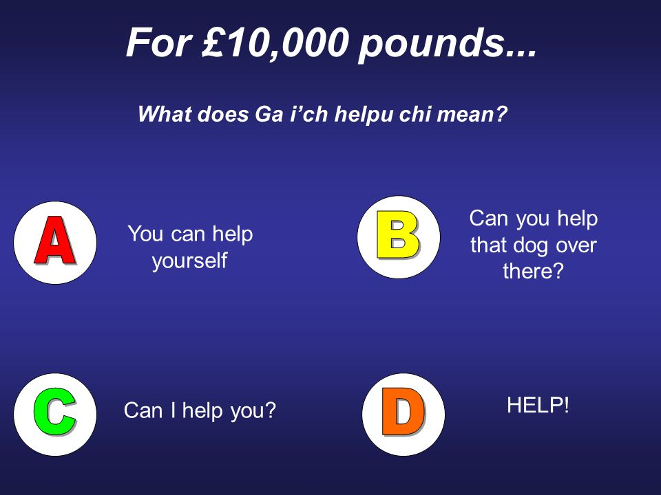 For £10,000 pounds... What does Ga i'ch helpu chi mean? You can help yourself HELP! Can you help that dog over there? Can I help you?