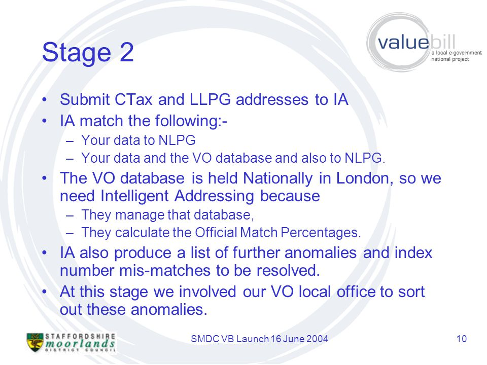 SMDC VB Launch 16 June 200410 Stage 2 Submit CTax and LLPG addresses to IA IA match the following:- –Your data to NLPG –Your data and the VO database and also to NLPG.