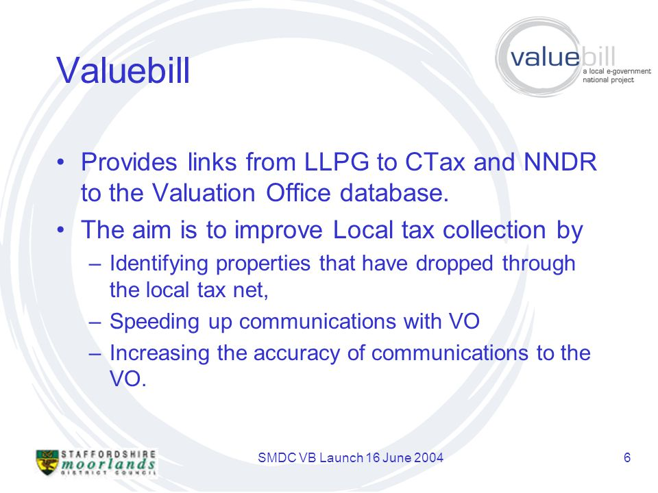 SMDC VB Launch 16 June 20046 Valuebill Provides links from LLPG to CTax and NNDR to the Valuation Office database.