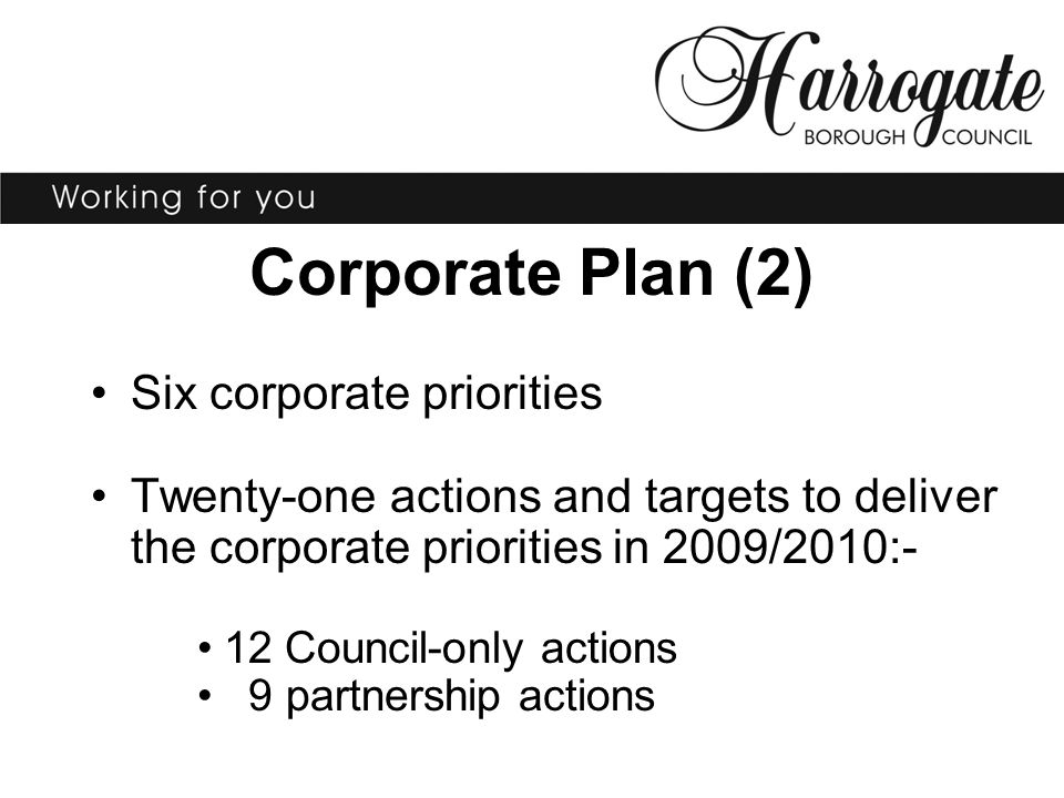 Corporate Plan (2) Six corporate priorities Twenty-one actions and targets to deliver the corporate priorities in 2009/2010:- 12 Council-only actions 9 partnership actions