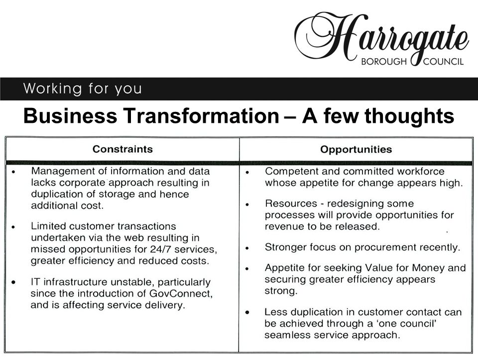Business Transformation – A few thoughts