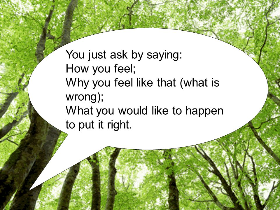 You just ask by saying: How you feel; Why you feel like that (what is wrong); What you would like to happen to put it right.