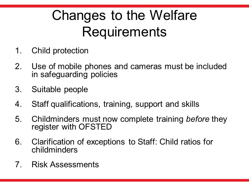 Changes to the Welfare Requirements 1.Child protection 2.Use of mobile phones and cameras must be included in safeguarding policies 3.Suitable people