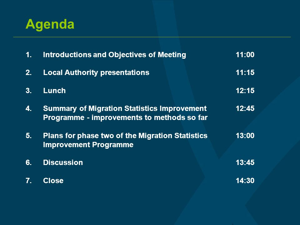 Agenda 1.Introductions and Objectives of Meeting11:00 2.Local Authority presentations11:15 3.