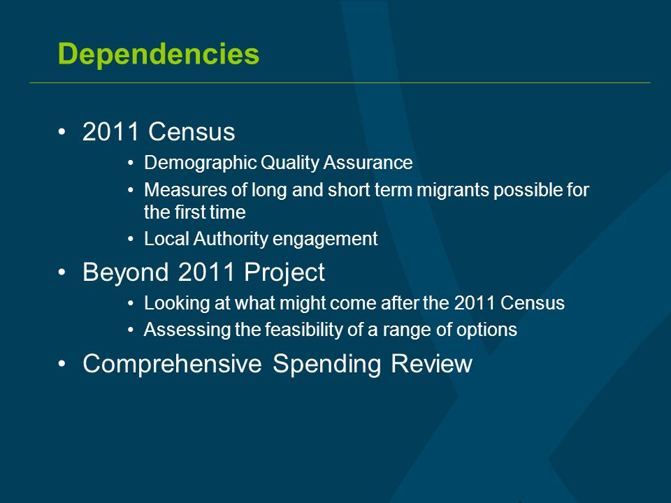 Dependencies 2011 Census Demographic Quality Assurance Measures of long and short term migrants possible for the first time Local Authority engagement Beyond 2011 Project Looking at what might come after the 2011 Census Assessing the feasibility of a range of options Comprehensive Spending Review