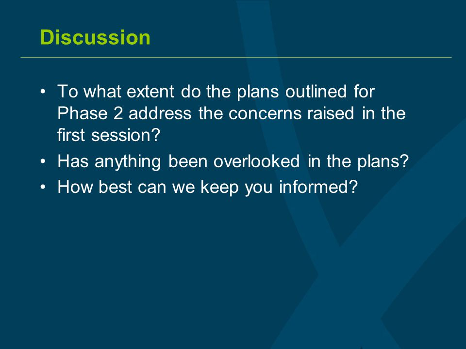 Discussion To what extent do the plans outlined for Phase 2 address the concerns raised in the first session.