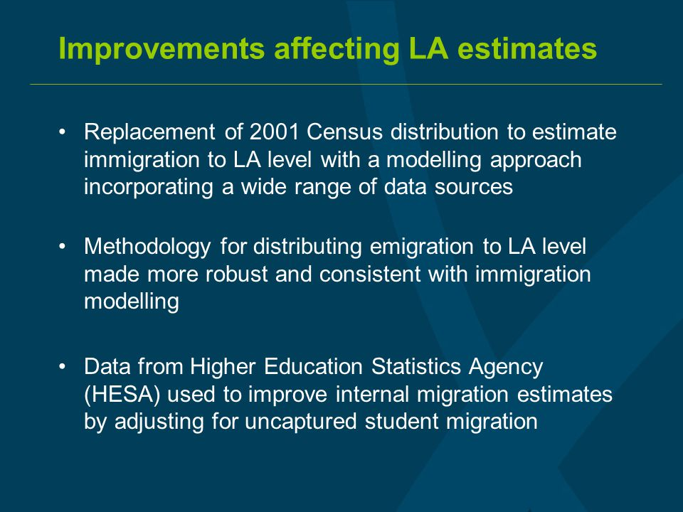 Improvements affecting LA estimates Replacement of 2001 Census distribution to estimate immigration to LA level with a modelling approach incorporating a wide range of data sources Methodology for distributing emigration to LA level made more robust and consistent with immigration modelling Data from Higher Education Statistics Agency (HESA) used to improve internal migration estimates by adjusting for uncaptured student migration
