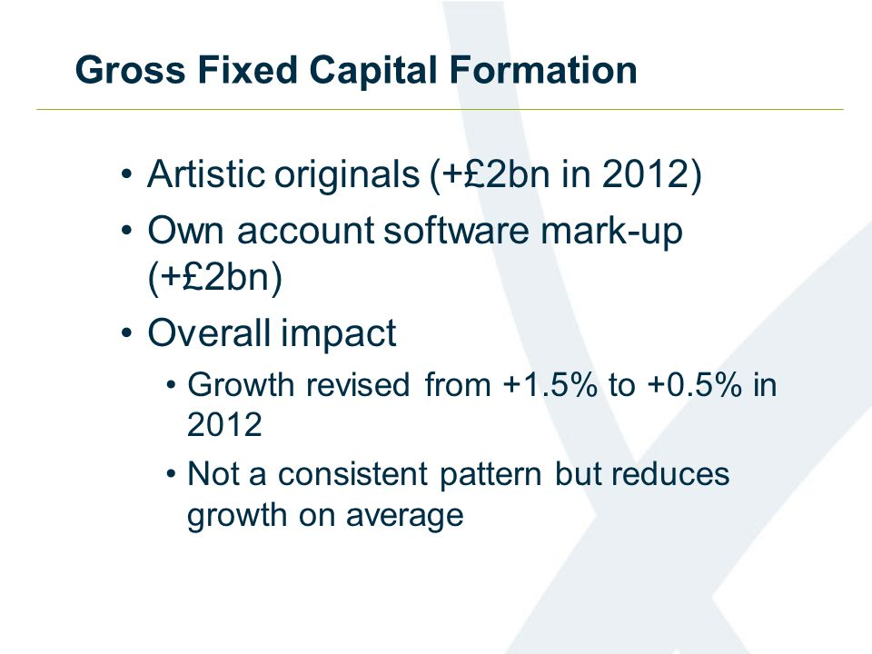 Gross Fixed Capital Formation Artistic originals (+£2bn in 2012) Own account software mark-up (+£2bn) Overall impact Growth revised from +1.5% to +0.5% in 2012 Not a consistent pattern but reduces growth on average