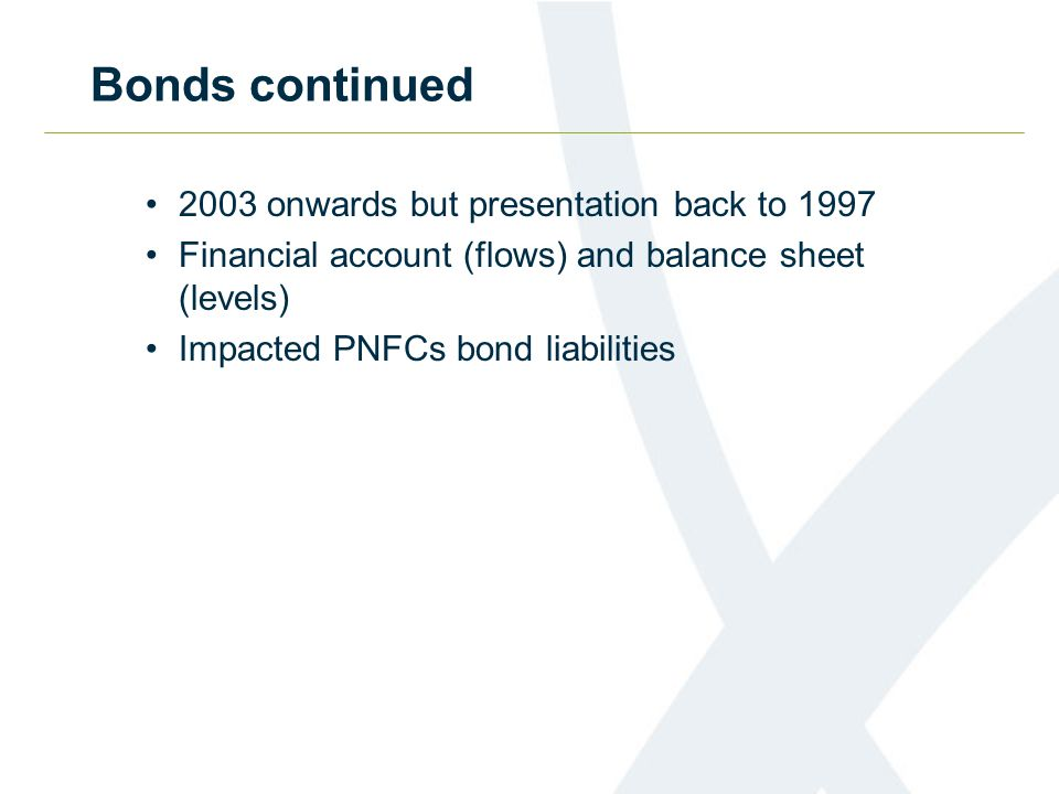 Bonds continued 2003 onwards but presentation back to 1997 Financial account (flows) and balance sheet (levels) Impacted PNFCs bond liabilities