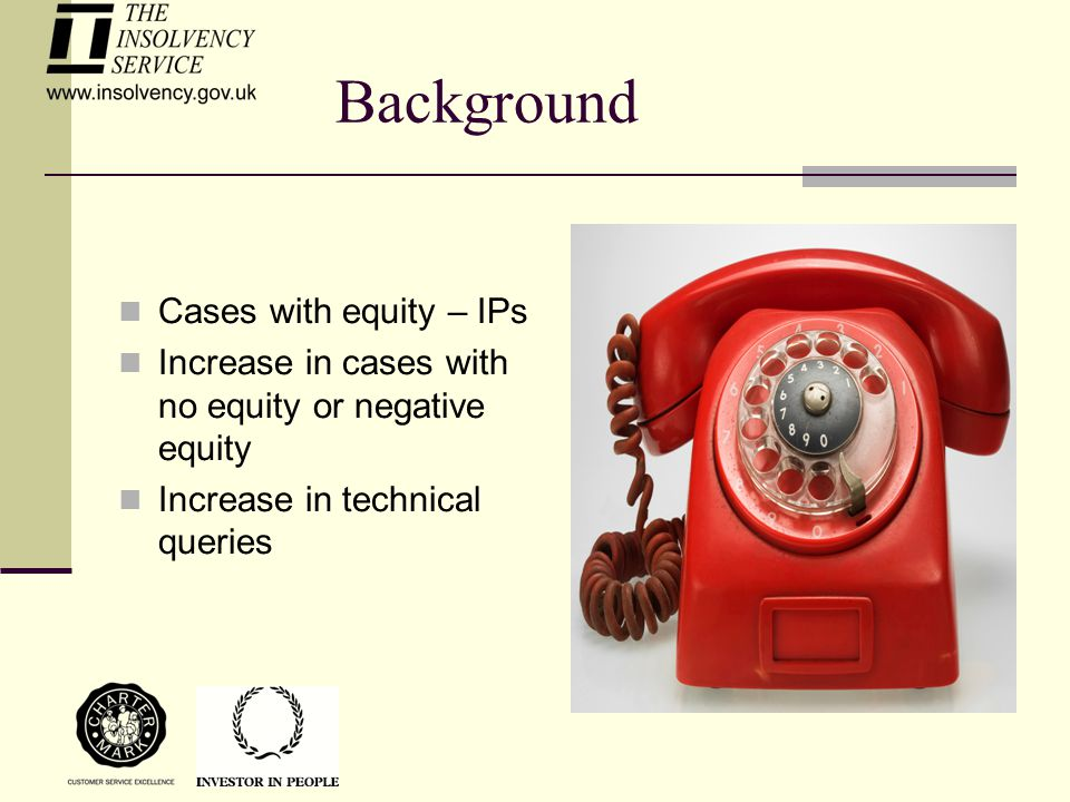 Background Cases with equity – IPs Increase in cases with no equity or negative equity Increase in technical queries