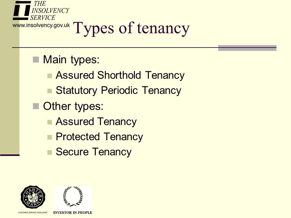 Types of tenancy Main types: Assured Shorthold Tenancy Statutory Periodic Tenancy Other types: Assured Tenancy Protected Tenancy Secure Tenancy