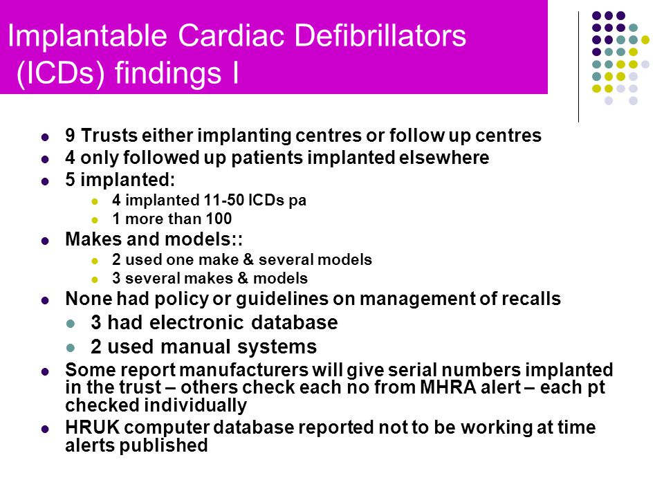 9 Trusts either implanting centres or follow up centres 4 only followed up patients implanted elsewhere 5 implanted: 4 implanted 11-50 ICDs pa 1 more than 100 Makes and models:: 2 used one make & several models 3 several makes & models None had policy or guidelines on management of recalls 3 had electronic database 2 used manual systems Some report manufacturers will give serial numbers implanted in the trust – others check each no from MHRA alert – each pt checked individually HRUK computer database reported not to be working at time alerts published Implantable Cardiac Defibrillators (ICDs) findings I