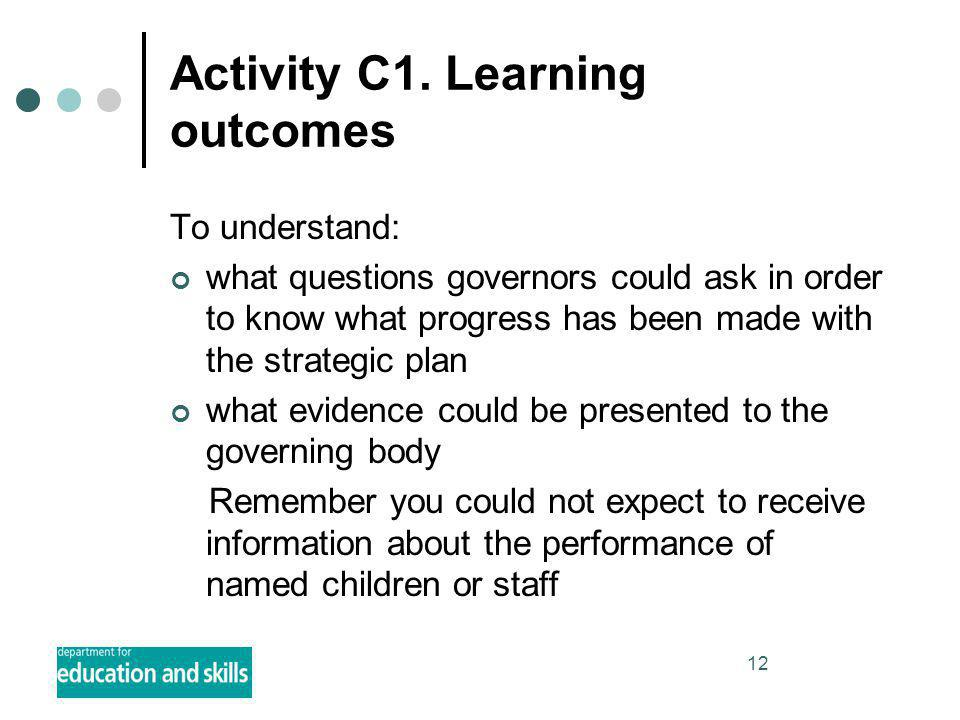 12 Activity C1. Learning outcomes To understand: what questions governors could ask in order to know what progress has been made with the strategic pl