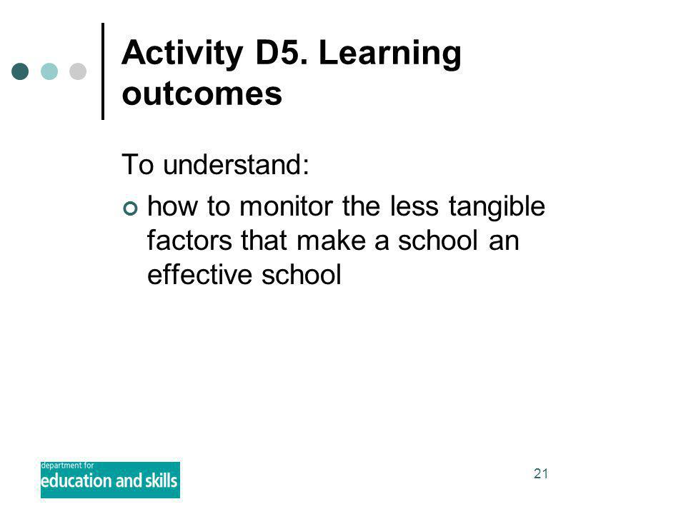 21 Activity D5. Learning outcomes To understand: how to monitor the less tangible factors that make a school an effective school