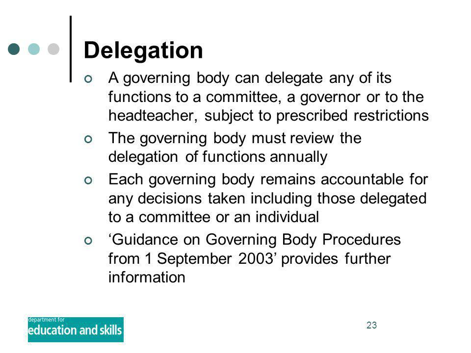 23 Delegation A governing body can delegate any of its functions to a committee, a governor or to the headteacher, subject to prescribed restrictions The governing body must review the delegation of functions annually Each governing body remains accountable for any decisions taken including those delegated to a committee or an individual 'Guidance on Governing Body Procedures from 1 September 2003' provides further information
